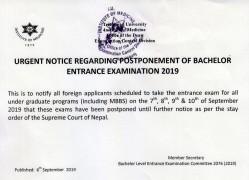 Notice for Postponement of Bachelor Entrance examination 2076/077 (2019)